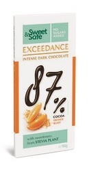 Sweet and Safe  Ciocolata neagra intensa 87 la suta  cacao si portocale  - Sly Nutritia