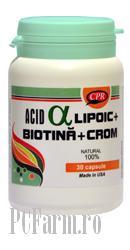 Acid Alfa Lipoic cu Biotina si Crom - Cosmopharm