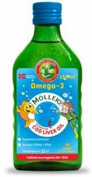 Ulei din ficat de cod  Omega 3 cu aroma Tutti Frutti - Moller s