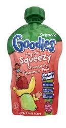 Squeezy bio de capsuni, banane si pere  - Organix